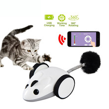 Bluetooth App Remote Control Pet Cat Toy Mouse Feather Interactive Wireless Electric Catch Moving Mouse Toy For Cat Usb Charging