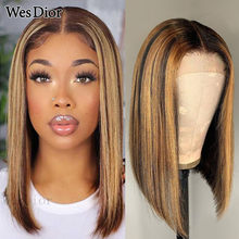 Straight Short Bob Wig 4x4 Brazilian Honey Brown Highlight Lace Wigs For Women 13x1 T Part Lace Human Hair Wigs Remy Density 180
