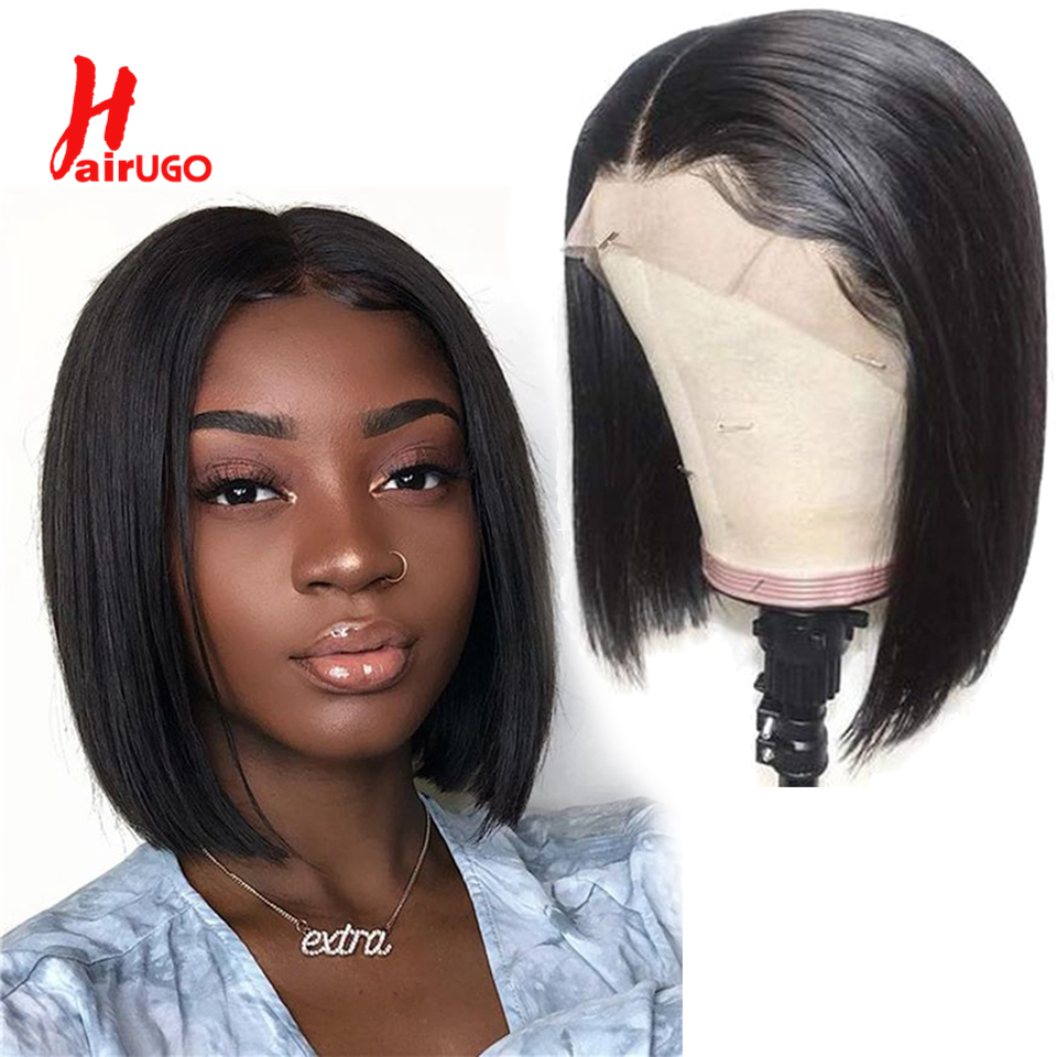 HairUGo Bob Wig Brazilian Straight Short Lace Front Human Hair Wigs For Black Women Pre Plucked With Baby Hair 8-14InRemy Hair