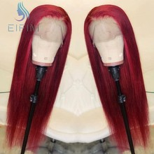 13x4 Red 99J Color Straight Lace Front Human Hair Wigs PrePlucked Ombre Brazilian Remy Hair Lace FrontWigs With Baby Hair Eifini(China)
