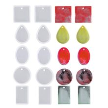 N58F 10 Pcs Jewelry Casting Molds Silicone Pendant Mold Resin Molds with Hanging Hole
