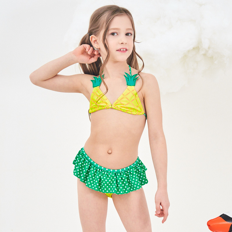 2019 Europe And America New Style Hot Sales Split Type Bikini Bathing Suit Pineapple Backless Sweet Fresh-Style Girls KID'S Swim