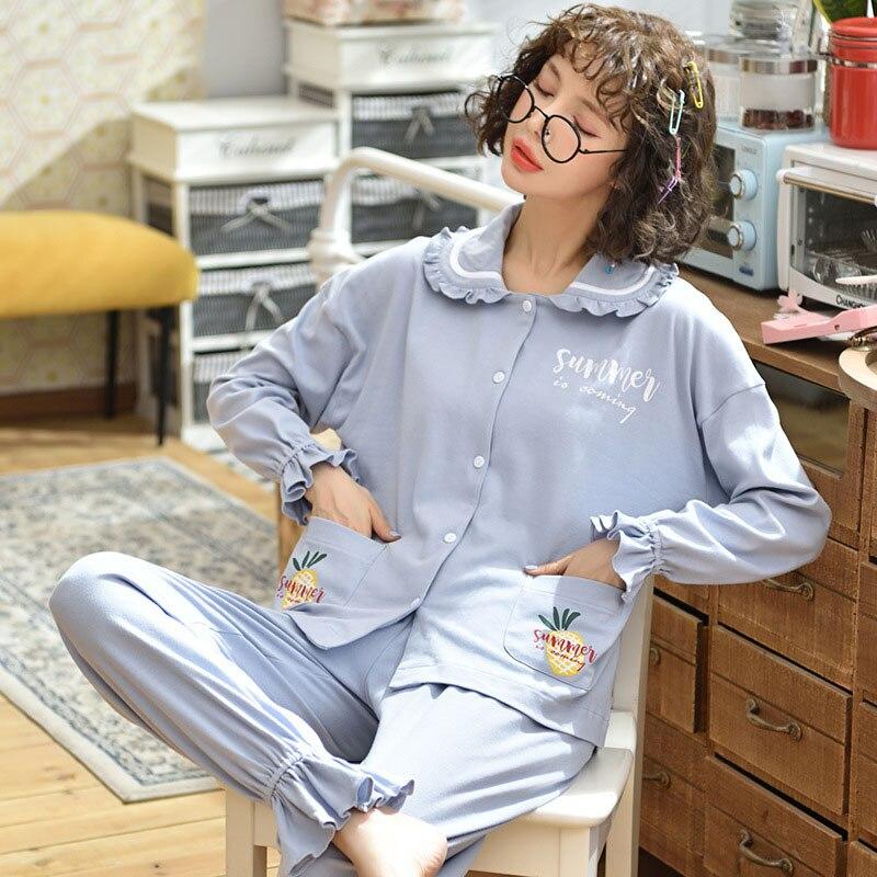 Tonmodi Дамский пижамный комплект весна и осень тонкий японский сладкий мультфильм печати с длинным рукавом милый Кукла Пижама с воротником Повседневная - Цвет: 5906