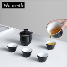 Chinese One Pot Four Cups Teapot Ceramic Cover Bowl Complete Set of Travel Kung Fu Tea Set ,Portable Quick Cup Porcelain Gift
