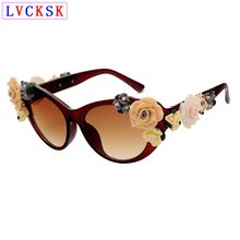 Luxury Sunglasses Retro Cat Eye 3D flowers lady Floral fashi