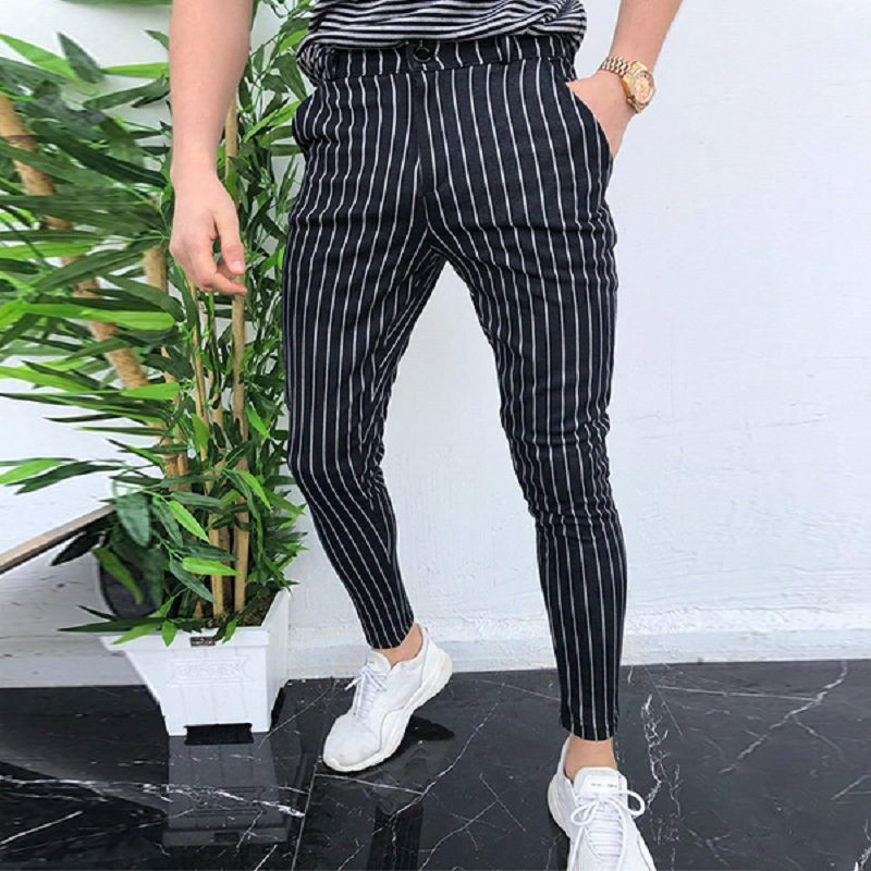 Mens Pants Striped Male Trouser Business Pencil Casual Fashion Work Striped Skinny Trousers