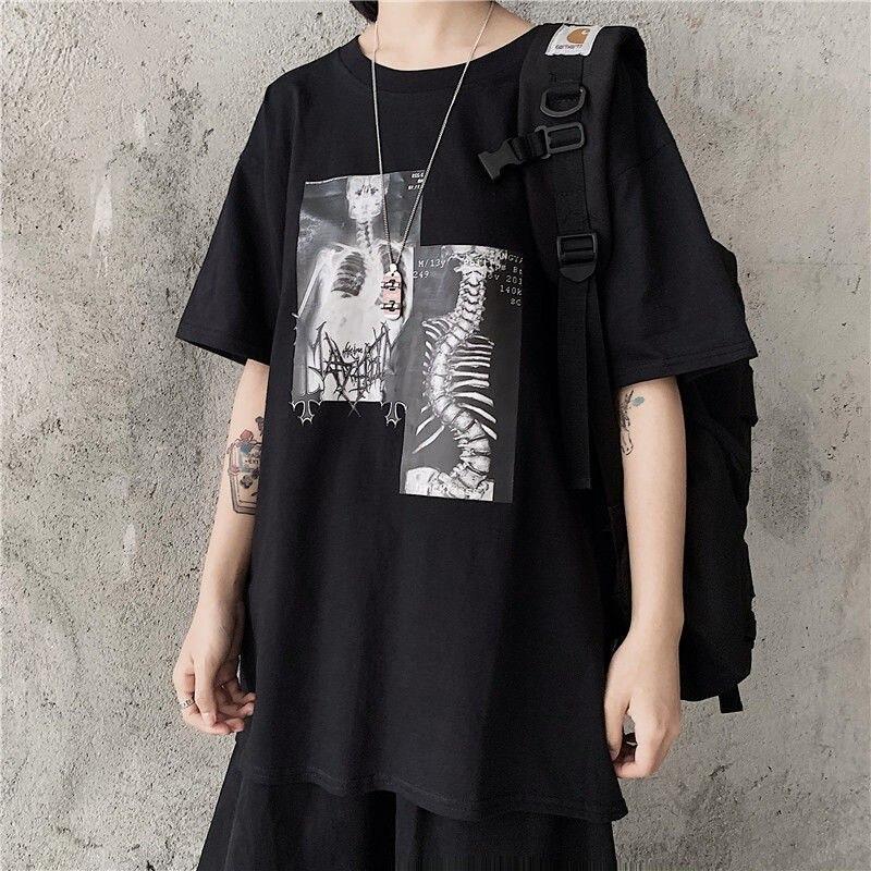 Женская футболка с коротким рукавом NiceMix, Винтажная футболка в стиле Харадзюку С мультяшным принтом, уличная одежда с круглым вырезом в Коре...