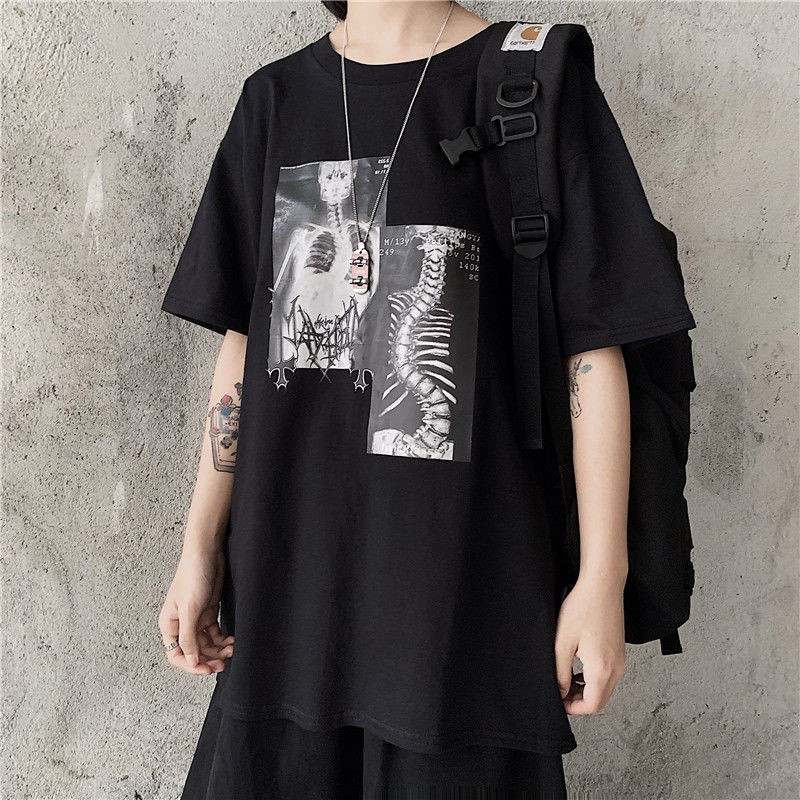NiceMix Korean Dark Style Harajuku Short Sleeve Women T Shirts Vintage Cartoon Print Ulzzang Tee Tops Chic Streetwear O Neck T