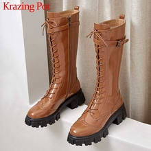 Krazing Pot genuine leather thick bottom British lace up round toe high heels belt buckle straps winter warm knee high boots L76