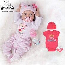 55 см Bebe Reborn Baby Doll для девочек со штанами 2 шт. силиконовые виниловые куклы новорожденных детей подарки Best подружки Светильник цвета: розовый ...