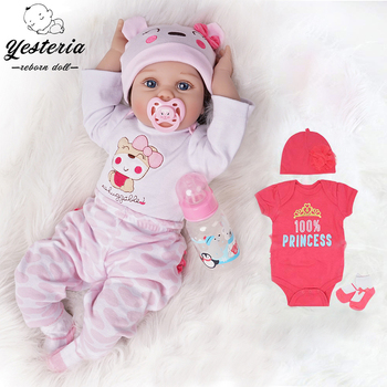 55cm Bebe Reborn Baby Doll Girl 2 Outfits Silicone Vinyl Alive Dolls Newborn Kids Gifts Best Playmates Light Pink and Dark Pink lifelike silicone reborn baby menina alive 50cm newborn baby dolls full vinyl body wear bebe infant clothes truly kids playmates