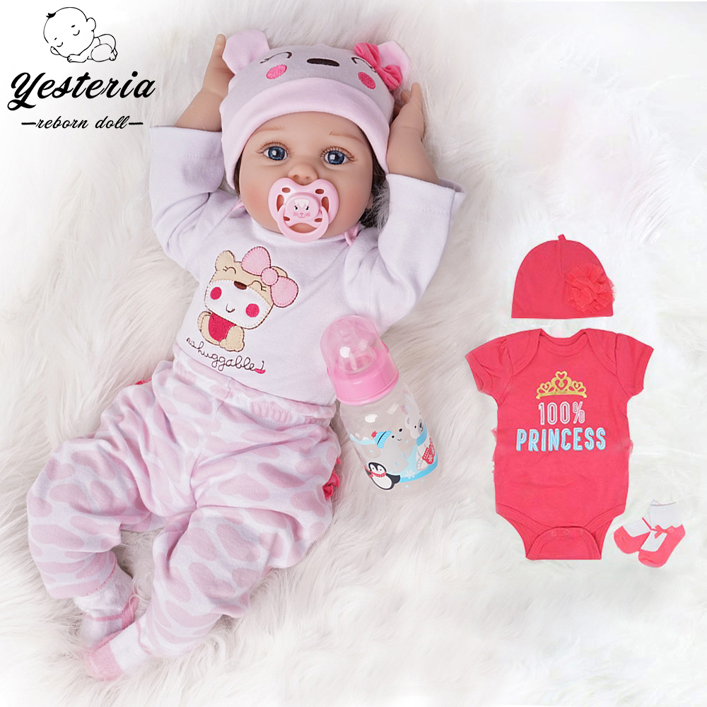 55cm Bebe Reborn Baby Doll Girl 2 Outfits Silicone Vinyl Newborn Light Pink And Dark Pink