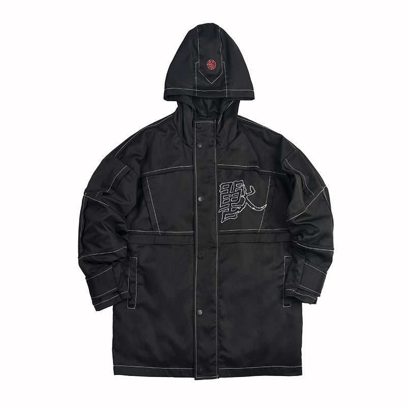 Winter Street Wear Fashion Hip Hop Coat Men's Windproof Embroidery Trench Hand-printed Male Skateboard Boy Skate Trench