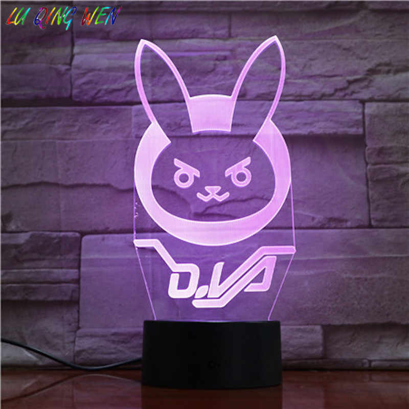 Game Overwatch D.Va Hana Lied Kids Nachtlampje Led Touch Sensor Slaapkamer Decor Licht Vakantie Aanwezig Ow 3d Night Lamp Dva Nachtkastje