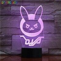 Jogo overwatch d. luz noturna led para decoração de quarto  va canção  sensor de toque  luz para férias  lâmpada noturna dva 3d