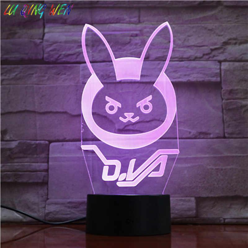Jogo overwatch d. va hana canção crianças luz da noite led sensor de toque decoração do quarto luz do feriado presente ow 3d noite lâmpada dva cabeceira