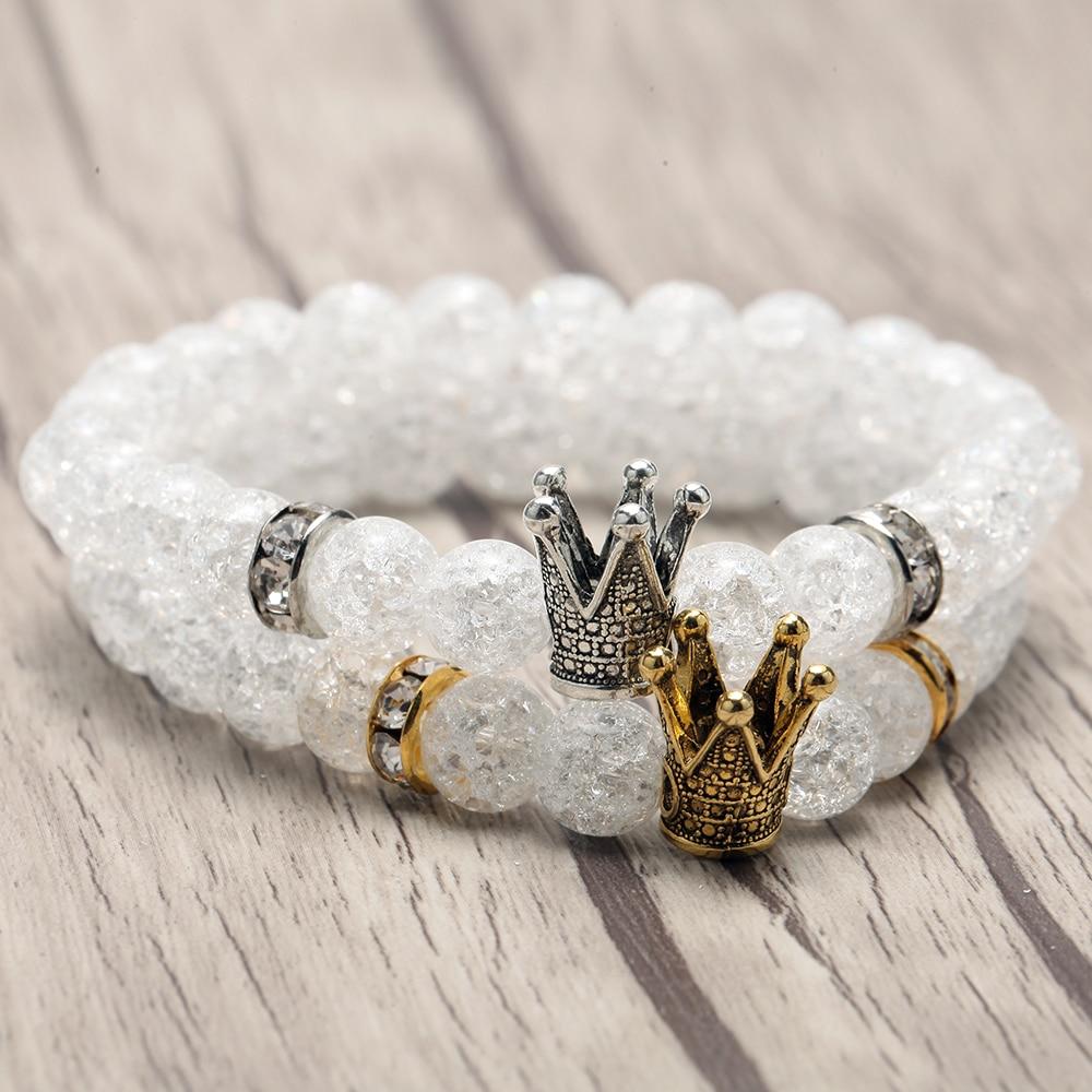 Glass Bead Bracelet for Men Silver Gold Crown Beads Accessories Women's Bracelets Boho Wristband Couple Bracelet Friends Gifts