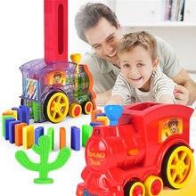 Полный комплект Электрический домино поезд автомобиль модель домино блоки наборы волшебный автоматический набор красочные домино игры Детские игрушки