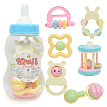 Baby Toy Set Cute Bottle Baby Hand Rattles  Infant Nontoxic Soft Teether Bright Color Newborn Baby Boy Girl Educational Toy bright baby blankies