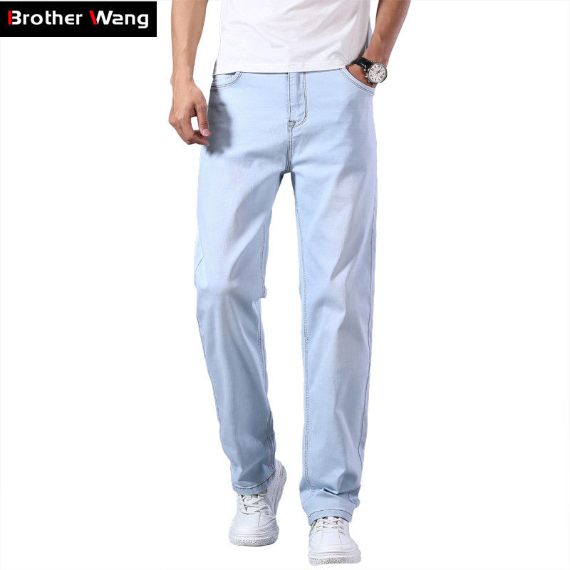 Plus Size 40 42 44 Men's Light Blue Thin Jeans 2020 Spring And Summer New Loose Straight Advanced Stretch Denim Pants Male Brand