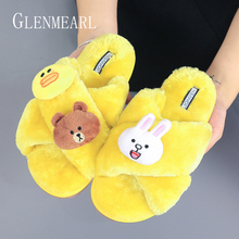 Slippers Home Women Shoes Female House Ladies Soft Cartoon Animal Colorful No Slip Casual 2019 DE