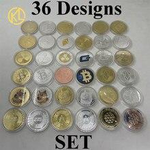 Pièces de monnaie en métal plaqué or et argent, 36 modèles, pièces de monnaie, jeton, Ethereum, Litecoin, Dash, Ripple, Monero, EOS, Cardano