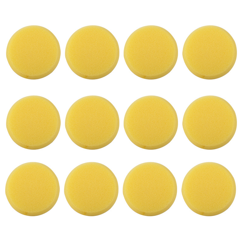 12 Pcs Round Synthetic Yellow Watercolor Painting Pen Brush Pottery Crafts Painting Sponge