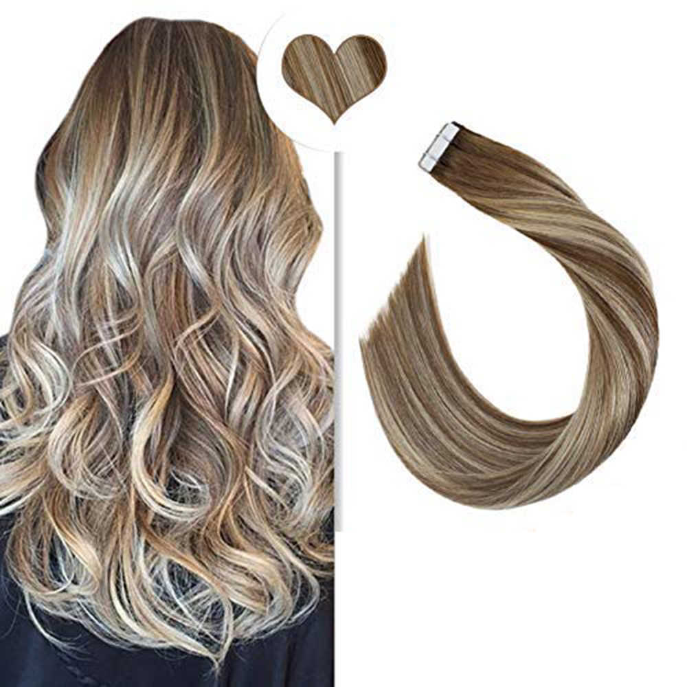 [Hot] Balayage Tape In Hair Extensions Real Human Hair Straight 12-24 Inch 20P/40P Machine Remy Dubbelzijdige Tape Ins