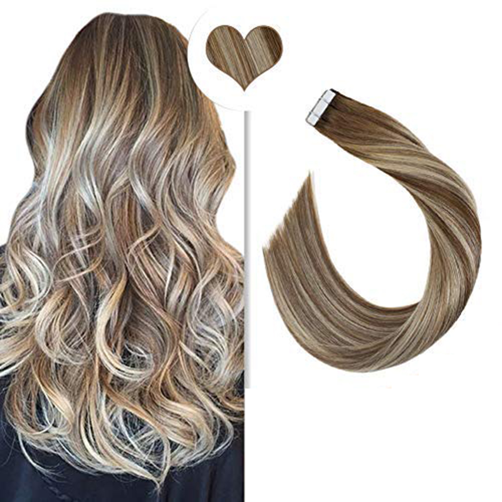 [Hot] Balayage Tape In Hair Extensions Real Human Hair Straight 12-24inch 20P/40P Machine Remy Double Sided Adhesive Tape Ins