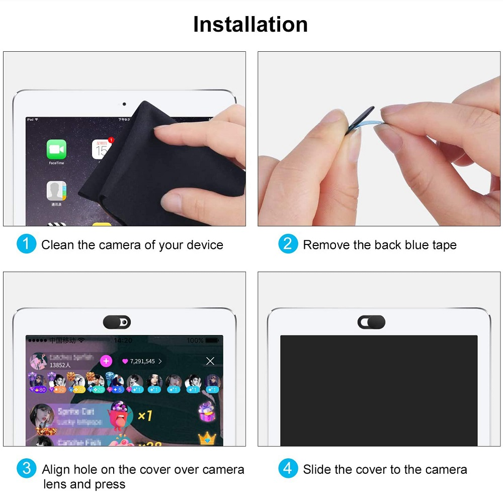 Untoom WebCam Cover Shutter Universal Camera Cover for iPad Pro iPhone Web Laptop PC Tablet Mobile Phone Lenses Privacy Sticker
