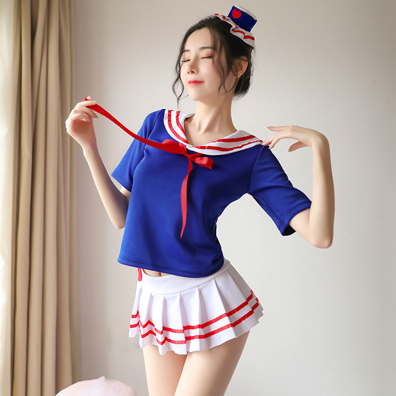 Kawaii Japanese Student <font><b>Cosplay</b></font> Costumes <font><b>Sexy</b></font> Uniform Temptation Pleated Skirt <font><b>Cute</b></font> Blue White Sailor <font><b>Cosplay</b></font> Costumes image