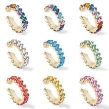 Neue Design Multicolor Kristall Ohr Manschetten Strass Clip auf Ohrringe für Frauen Mode Kleine C-förmigen Earcuffs Hochzeit Schmuck