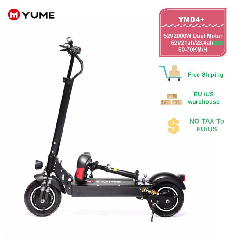"""YUME D4 + puissant 10 """"double moteur 2000W pneu pneumatique jusqu'à 40Mile & 40MPH pliable Scooter électrique pour adultes"""