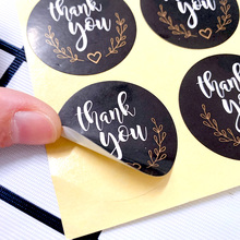 "120pcs/lot Cute Black Round White ""Thank you ""Kraft Paper Seal Sticker packaging label Supplies"