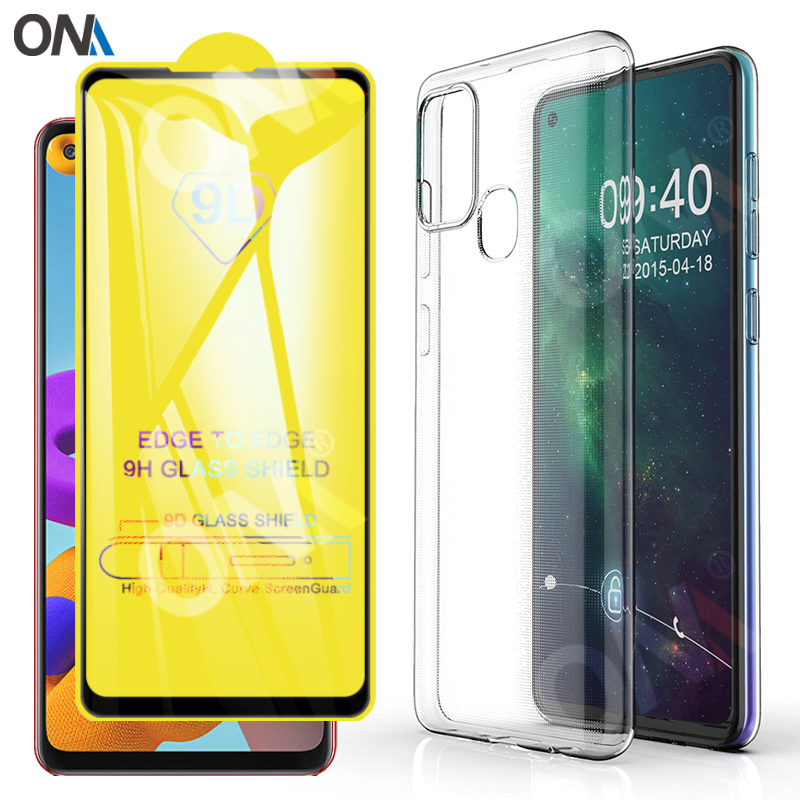 2-in-1 Glass + Full Cover Case for Samsung Galaxy A21s Silicone Case Cover for Samsung A21s A217F Screen Protector