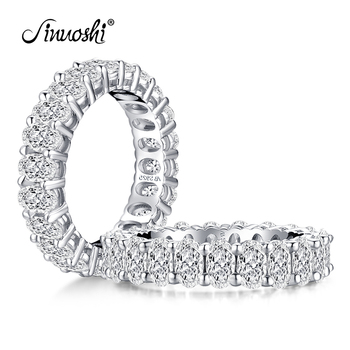 925 Sterling Silver Oval Cut Eternity Engagement Ring Simulated Diamond Wedding Silver Full Eternity Ring Jewelry фото