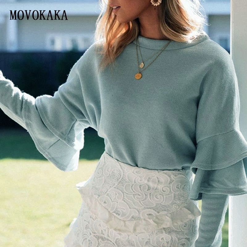 New Autumn Winter Kint Sweater Female Ruffle Sleeves Sweater Women Pullover Slim Sweaters Ladies Jumper Woman Pull Free Shipping