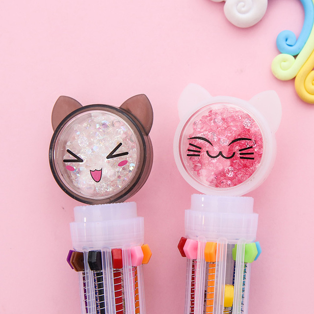 1pc mignon nouveauté chat 10 couleurs stylo à bille Kawaii dessin animé Quicksand diamant émotion stylo à bille pour enfant cadeau école papeterie