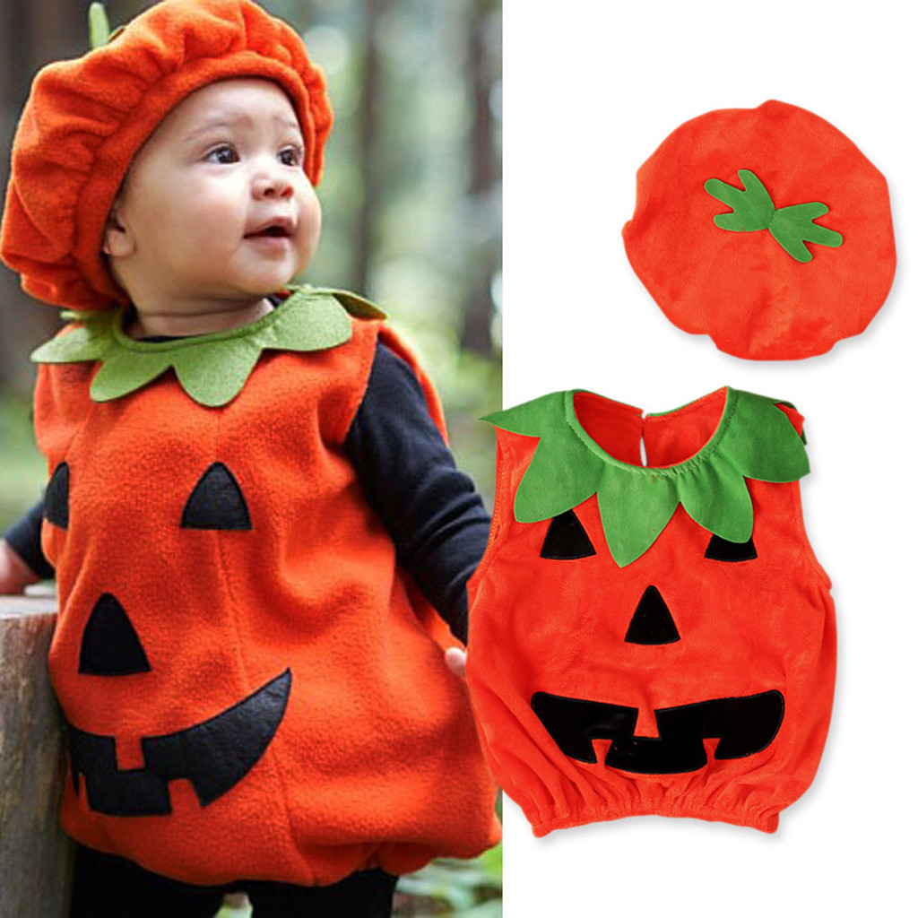 Infant Pumpkin Halloween Costume | Toddler Infant Baby Boy Girl Cosplay Pumpkin Halloween Outfits Vest Tops Hat Newborn Halloween Costume For Baby Girl Clothes Set