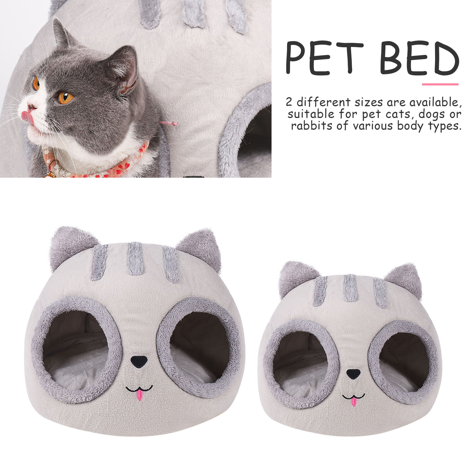Супермягкая кровать для кошки, удобный маленький коврик, корзина в форме головы кошки, домик для кошки, палатка для домашних животных, уютны...