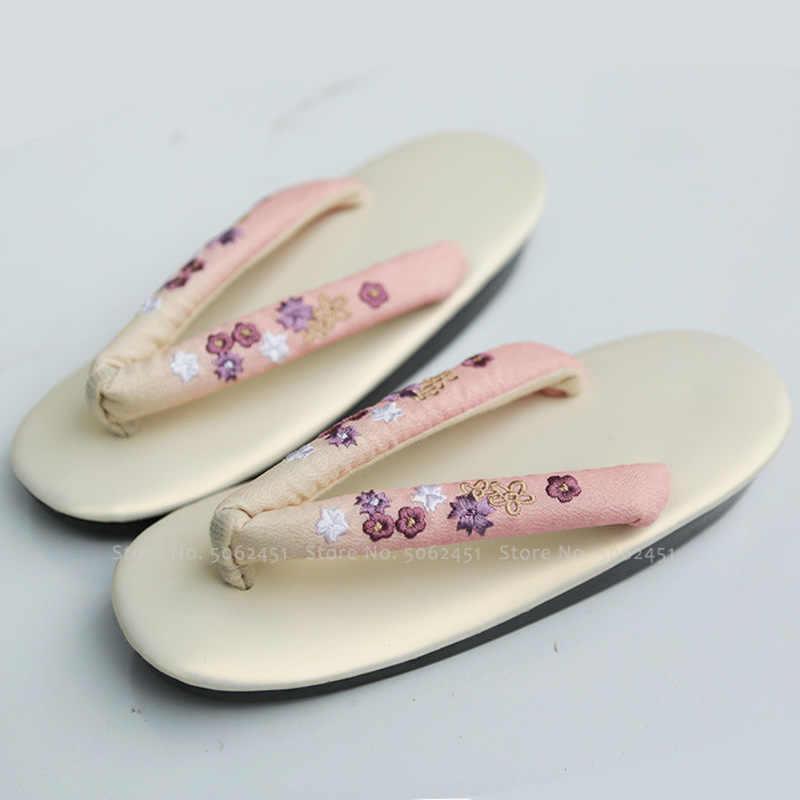 Japanese Traditional Kimono Geta Clogs Woman Anime Cosplay Geisha Party Stage Shoes Outdoor Sandals Obi Ao Dai Round Toe Slipper