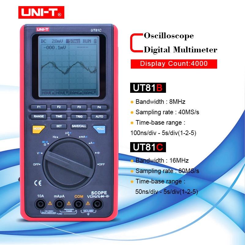 UNI-T UT81B/C handheld osciloscópio digital multímetros 8MHz/16MHz 4000 Counts Multímetros Âmbito Digital Interface USB PC Macio