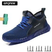 Men Shoes Safety Boots Man Sneakers Summer Mesh Breathable Steel Toe Anti-puncture Industrial Work Casual Shoe