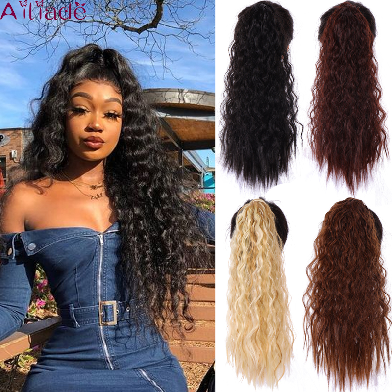 AILIADE Synthetic Curly Ponytail Wrap Around Magic Paste Clip-in Pony Tail Natural Hair Extension Heat Resistant Hair Pieces