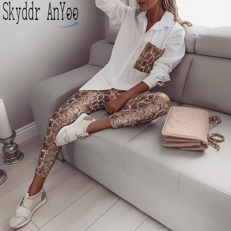 Fashion Fall Women Two Piece Matching Sets Snake Contrast Pocket Blouses Tops And Elastic Waist Long Pants Sets Woman Clothes