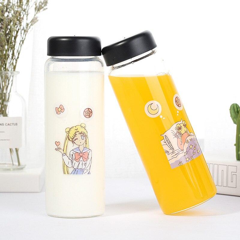500ml Sailor Moon Transparent Glass Water Bottle Cartoon Water Bottles Leak-proof Drinkware Creative Milk Drink Bottle Cute Cups