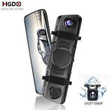 HGDO10 Stream Rearview Mirror Camera Car DVR Full HD Dash cam Touch screen 1080P dvrs Dual Lens Video Recorder Autoregister jado d800s x6 stream rearview mirror ldws gps track 10 ips touch screen full hd 1080p car dvrs dash cam
