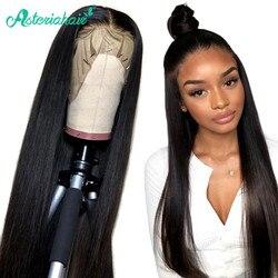 Asteria-pelucas de cabello humano 360 con encaje Frontal, pelucas de encaje liso brasileño para mujer negra, densidad del 180, peluca Frontal de encaje Remy