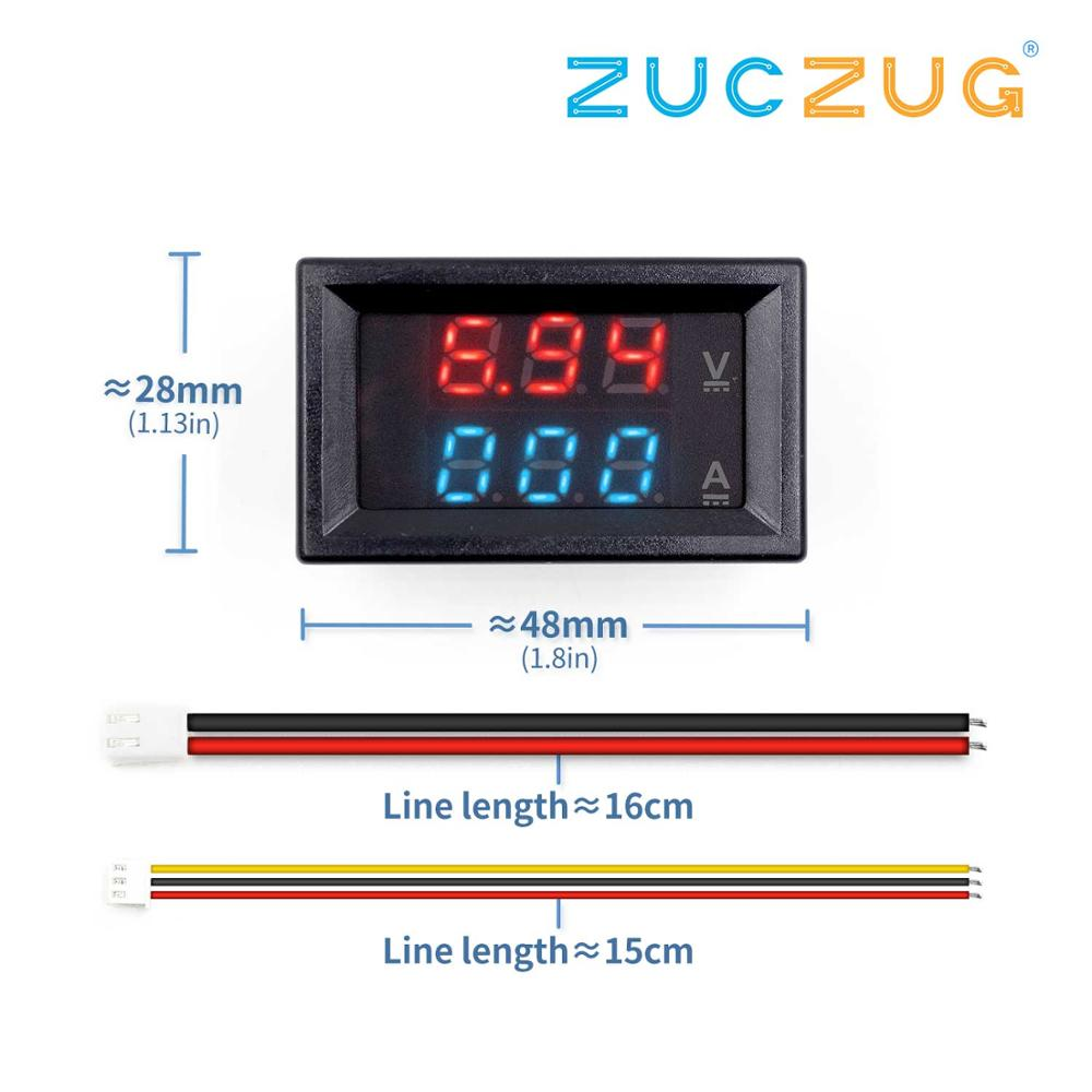 "Mini Digital Voltmeter Ammeter DC 100V 10A Panel Amp Volt Voltage Current Meter Tester 0.28"" Blue Red Dual LED"