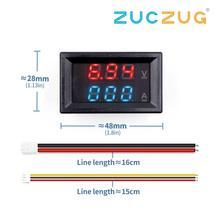 """ミニデジタル電圧計電流計dc 100v 10Aパネルアンプ電圧電圧電流メーターテスター 0.28 """"青赤デュアルled"""